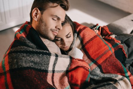 Photo for High angle view of beautiful young couple relaxing on couch and covering with plaid - Royalty Free Image