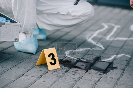 Photo for Partial view of criminologist sitting next to numbered evidence - Royalty Free Image