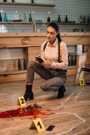 female detective collecting data and investigating crime scene