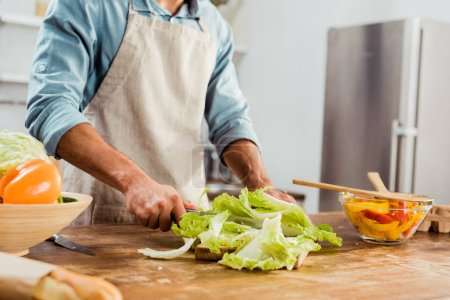 Photo for Cropped shot of young man in apron cutting vegetables in kitchen - Royalty Free Image