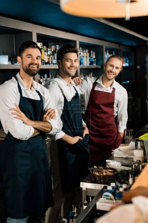 Handsome bartenders standing in aprons and smiling in bar