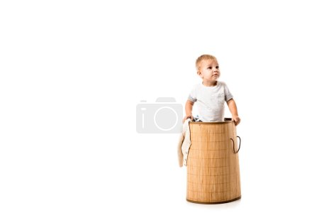 nice toddler boy standing in wicker laundry basket isolated on white