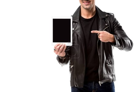 cropped view of man pointing with finger at digital tablet with blank screen isolated on white