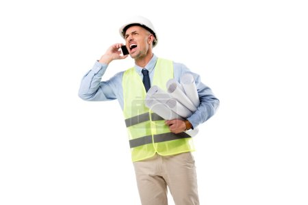 angry engineer holding blueprints, talking on smartphone and yelling isolated on white