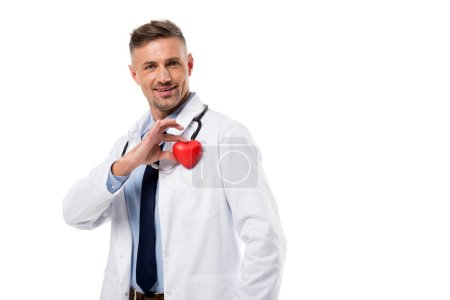 doctor holding heart model in hand isolated on white, heart healthcare concept