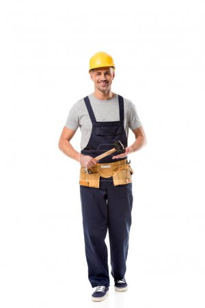 Photo for Construction worker with tool belt holding hammer isolated on white - Royalty Free Image