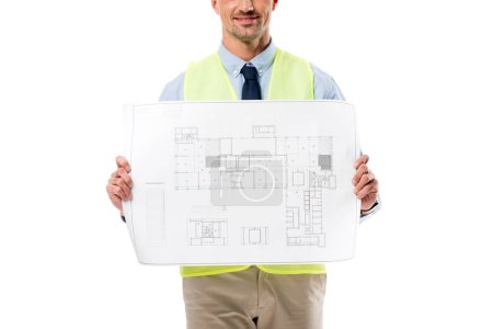 cropped view of engineer in safety vest holding blueprint isolated on white