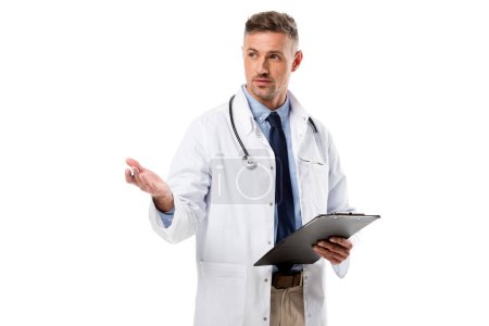 doctor in white coat with stethoscope holding diagnosis isolated on white