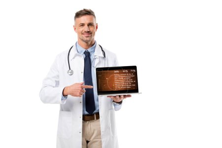 Photo for Smiling doctor pointing finger at laptop with health data on screen isolated on white - Royalty Free Image
