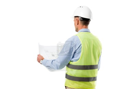 back view of engineer in helmet holding blueprint isolated on white