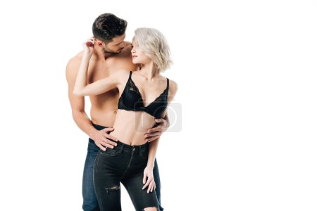 heterosexual couple gently touching and looking at each other isolated on white