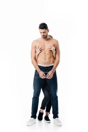 woman touching handsome shirtless man from behind isolated on white