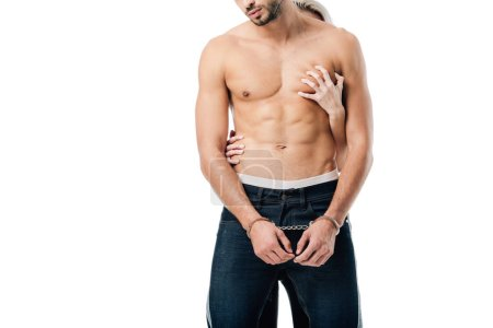 cropped view of woman touching shirtless handcuffed man from behind isolated on white