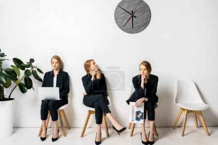 collage of businesswoman with various objects and emotions waiting in queue