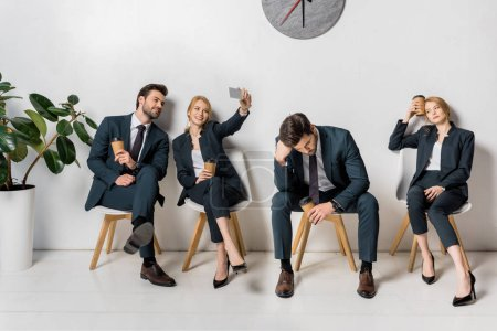 Photo for Collage of business people with various emotions and poses waiting on chairs in line - Royalty Free Image