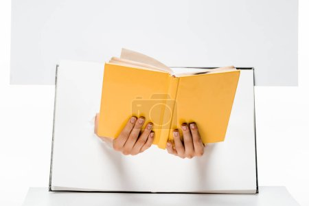 cropped shot of woman holding book through holes on white