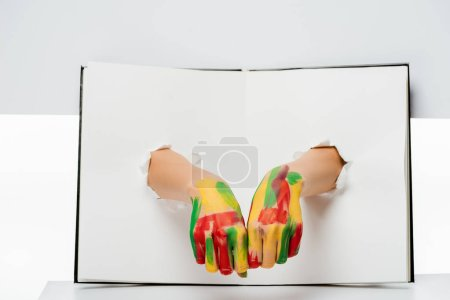 cropped shot of female hands in paint through holes on white