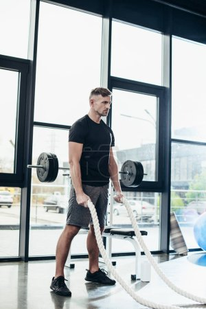 Photo for Handsome adult sportsman working out with ropes in gym - Royalty Free Image