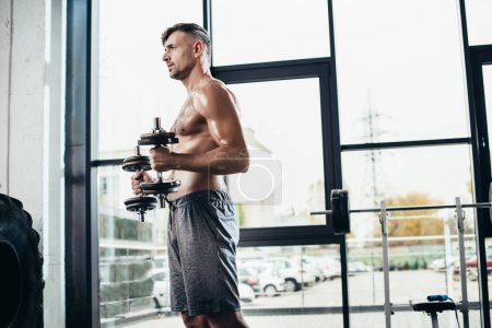 Photo for Side view of handsome shirtless sportsman training with dumbbells in gym - Royalty Free Image