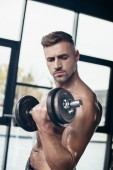 athletic shirtless sportsman training with dumbbell in gym