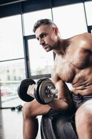 handsome sweaty shirtless sportsman sitting on tire and exercising with in gym dumbbell