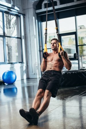 Photo for Handsome shirtless sportsman training with suspension straps in gym - Royalty Free Image