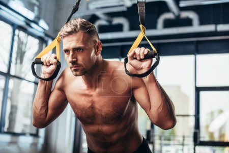handsome shirtless sportsman working out with resistance bands in gym