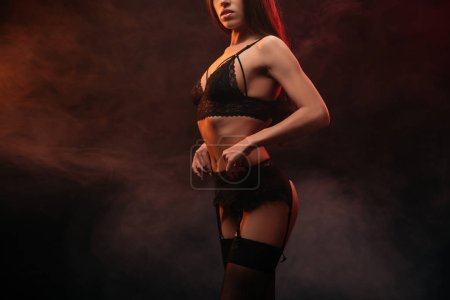 cropped view of seductive young woman in lace lingerie posing in dark smoky room