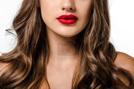 girl with long brown hair and red lips isolated on white