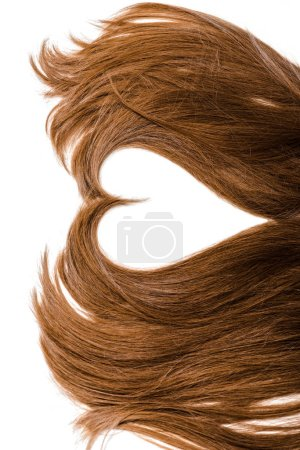 cropped view of long brown female hair in shape of heart isolated on white