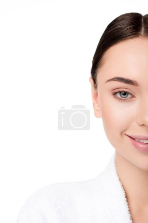 cropped view of beautiful smiling woman in bathrobe isolated on white with copy space