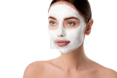 beautiful woman with facial skin care mask isolated on white