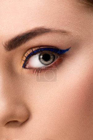 Photo for Close up of female eye with blue eyeliner and perfect skin - Royalty Free Image
