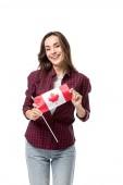 """Постер, картина, фотообои """"счастливая женщина, держа канадский флаг, изолированные на белом фоне"""""""