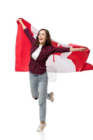 Photo pour Belle femme joyeuse, tenant le drapeau canadien isolé sur blanc - image libre de droit