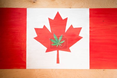 cannabis leaf on canadian flag, marijuana legalization concept