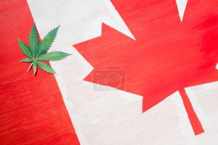 cannabis leaf on canadian flag with copy space, marijuana legalization concept