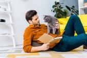 """Постер, картина, фотообои """"красавец с книгой и лежа на полу с милой серый кот"""""""