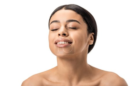 happy naked african american woman with closed eyes laughing isolated on white