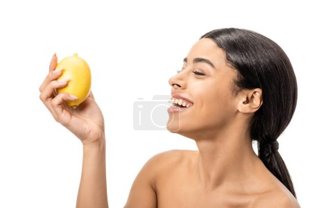 happy naked african american woman holding lemon and laughing isolated on white