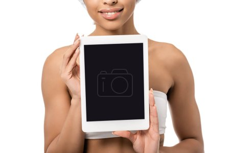 Photo for Cropped shot of smiling young african american woman holding digital tablet with blank screen isolated on white - Royalty Free Image
