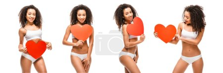 collage of cloned african american girl in underwear holding heart shaped cards isolated on white