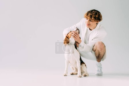 Photo for Happy man with curly hair looking at beagle dog on grey background - Royalty Free Image