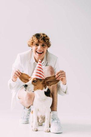 Photo pour Homme heureux avec les cheveux bouclés tenant des oreilles de chien beagle mignon sur fond gris - image libre de droit