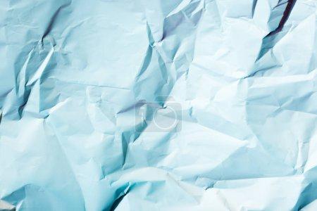 Foto de Vista superior de textura papel arrugado azul claro - Imagen libre de derechos
