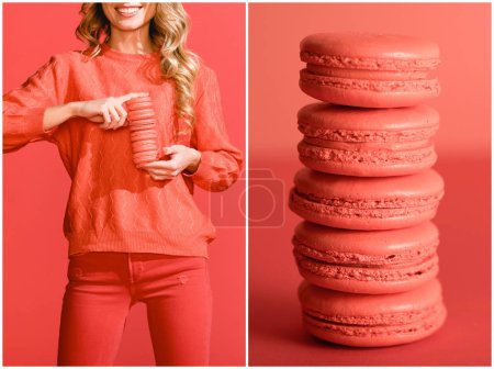 Photo for Collage with sweet macaroons and fashionable woman in living coral. Pantone color of the year 2019 concept - Royalty Free Image