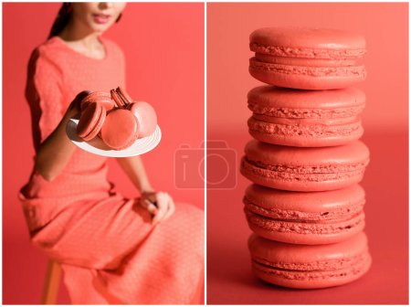 Photo for Collage with sweet macaroons and stylish woman in living coral. Pantone color of the year 2019 concept - Royalty Free Image