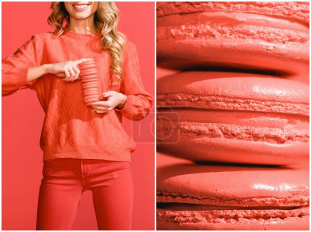 Photo for Collage with sweet macarons and fashionable young woman in living coral. Pantone color of the year 2019 concept - Royalty Free Image