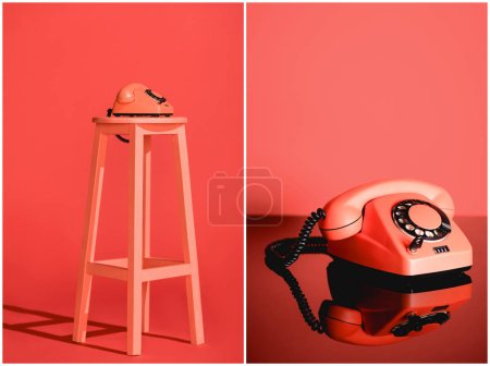 Photo for Collage with Living coral vintage rotary phone on stool. Pantone color of the year 2019 concept - Royalty Free Image