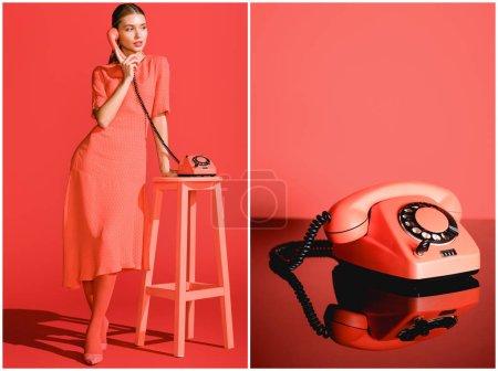 Photo pour Collage avec femme à la mode et téléphone rotatif vintage sur fond de corail vivant - image libre de droit